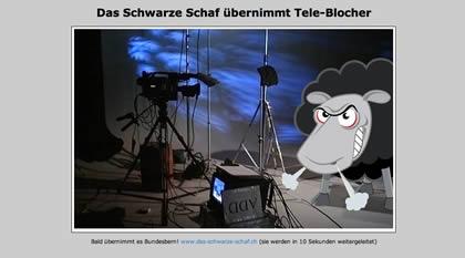 """gerade habe ich bei rho gelesen, dass tele-blocher.ch gehackt worden sei. es stimmt schon, wer tele-bocher.ch eingibt erhält zuerst einen ladescreen, der das wütende schaf zeigt sowie die nachricht """"Das […]"""