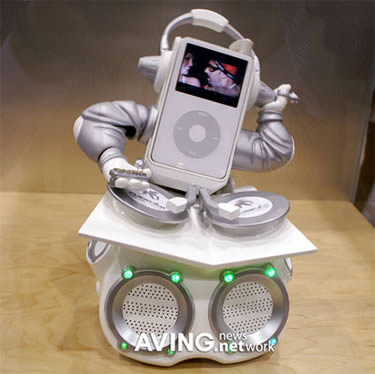 ipod dock looking like a bizzare robot dj