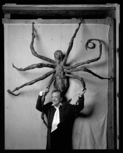 Artist Louise Bourgeois with Spider IV in 1996.Ê Photo credit:ÊP